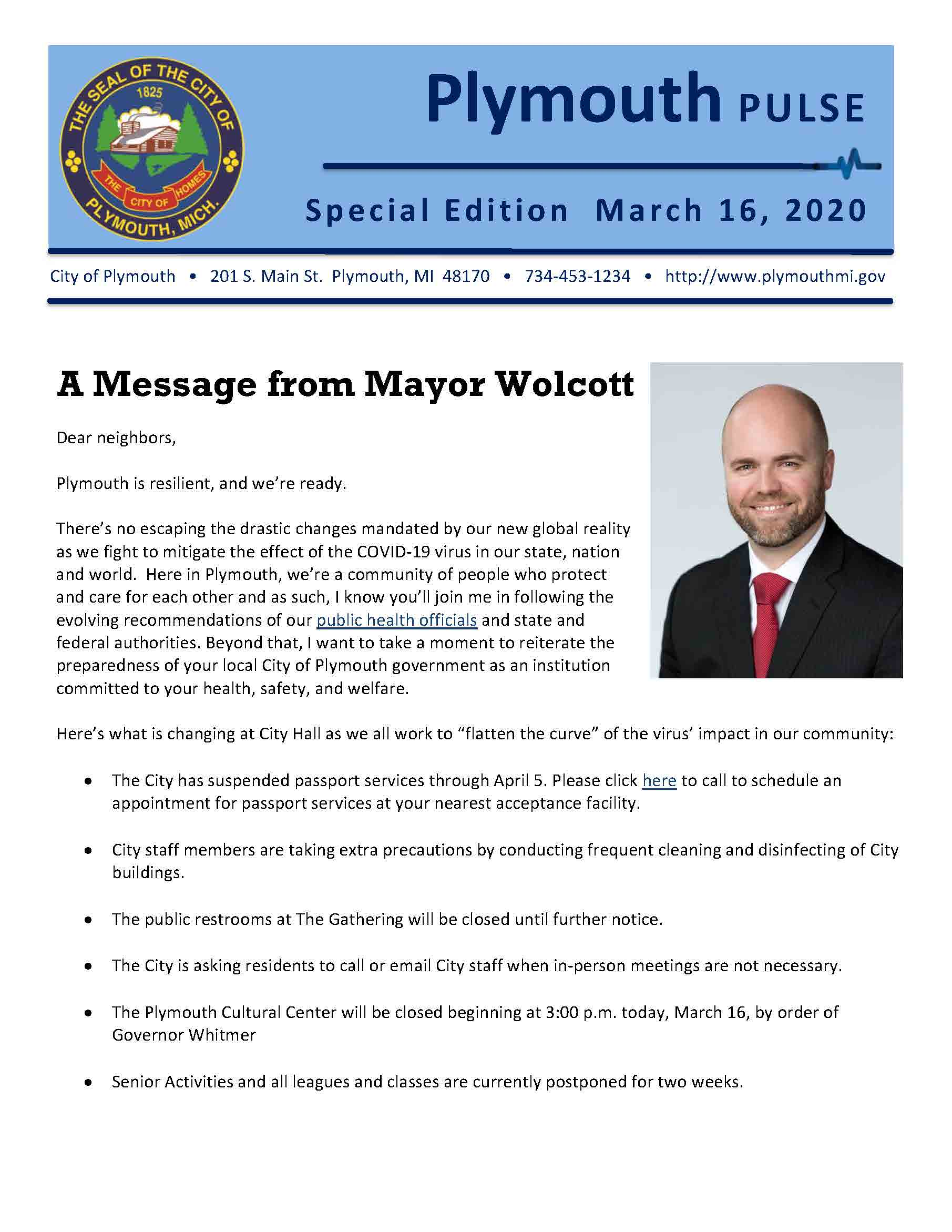 Plymouth Pulse_ Mayor_s message