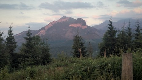 Sunset reflecting off of a mountain during the first day of Hiking the Tatra Mountains.