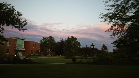 Sunset reflecting off clouds in Loretto, PA at Saint Francis University.