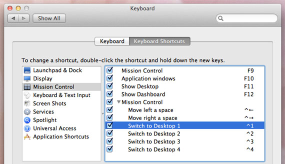 Keyboard shortcuts for switching Spaces