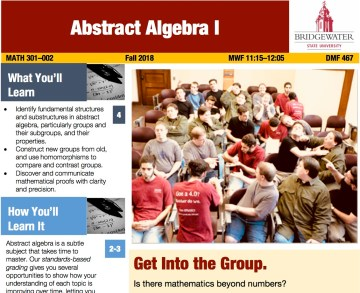 A visual syllabus for abstract algebra, laid out in full color using a newsletter template. A large graphic and headline dominate the page, along with short paragraph summaries of what students will learn and how.