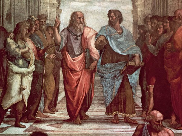Plato and Aristotle walking and disputing.