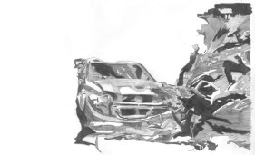 car crash destruction drawing