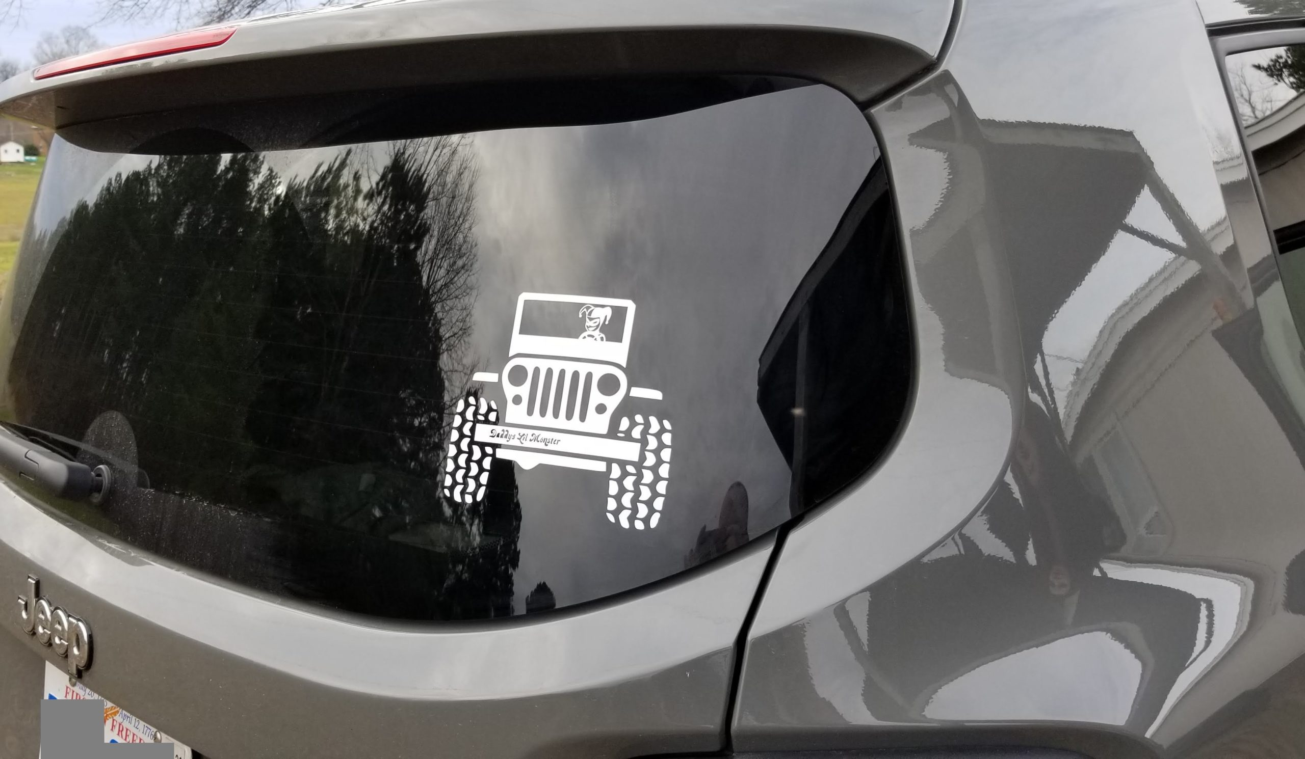 Harley Quinn driving jeep decal