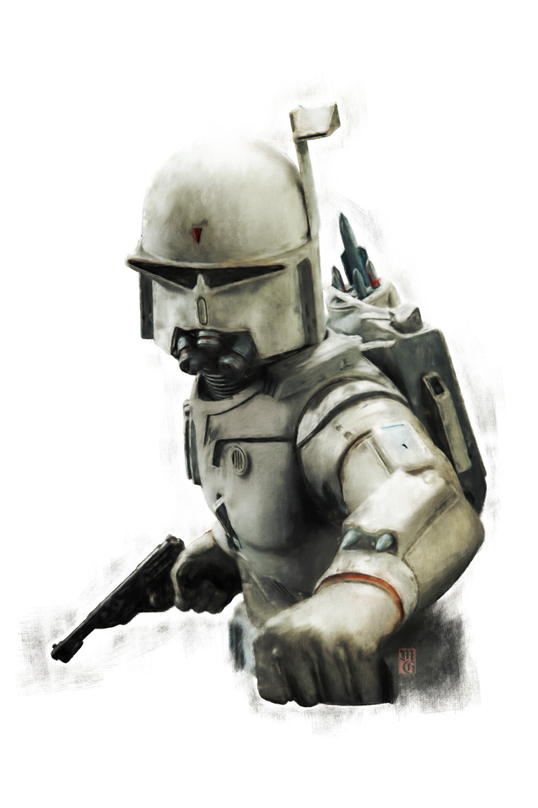 Concept for the bounty hunter in Star Wars, who later became known as Boba Fett.