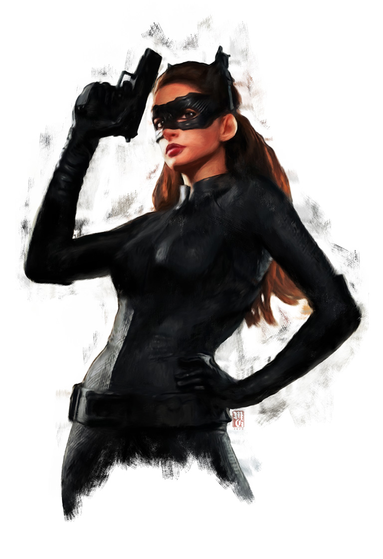 Catwoman illustration of Anne Hathaway