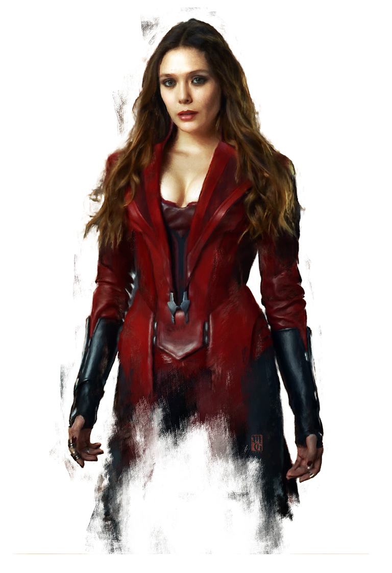 Portrait of Elizabeth Olsen as Wanda, the Scarlet Witch from the Avengers
