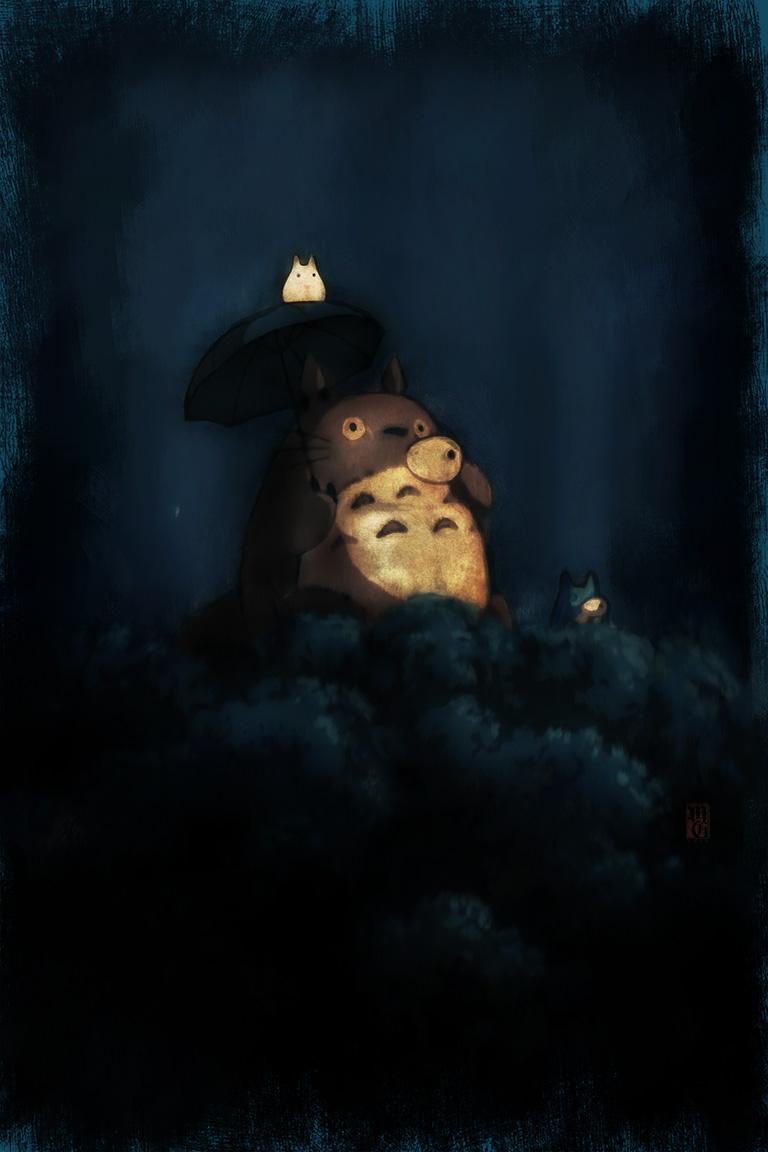 Studio Ghibli's Totoro in a tree