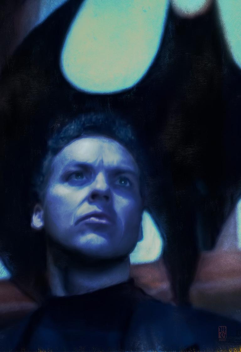 Baturday portrait of Michael Keaton as Batman