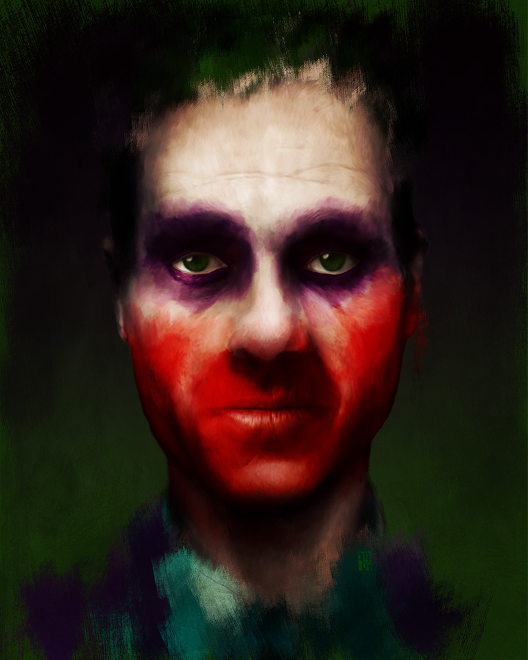 Sketch portrait of Jack Napier, the Joker