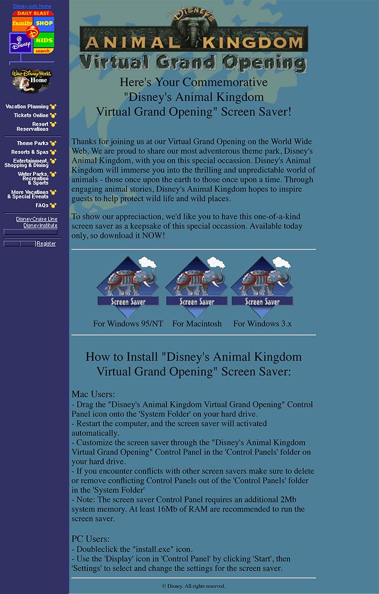 Disney's Animal Kingdom Virtual Grand Opening Screen Saver page