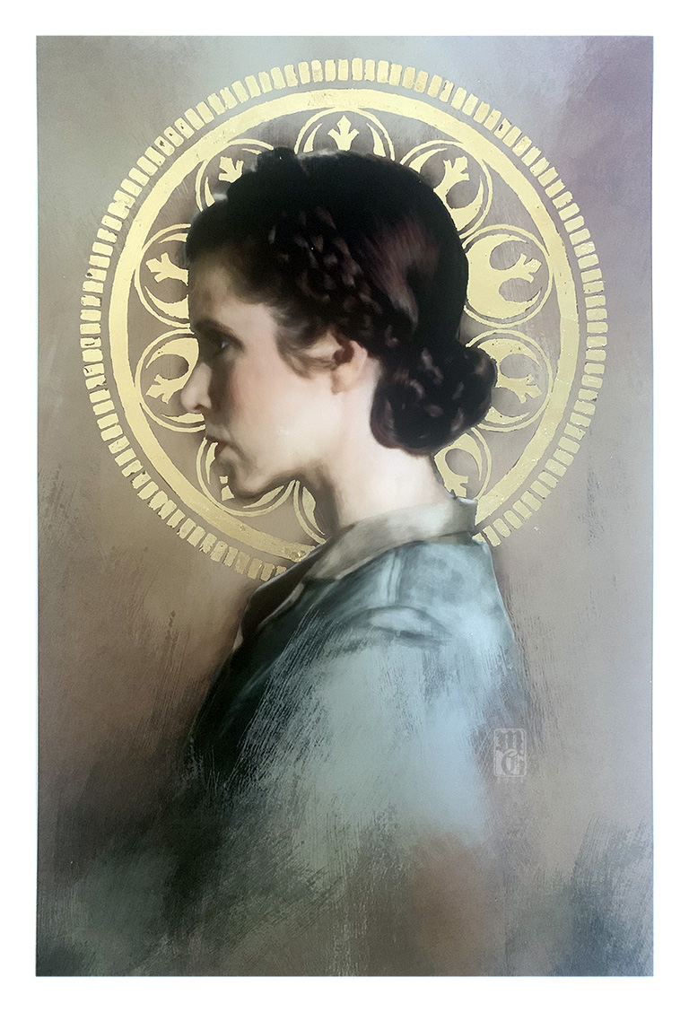 Gold-leafed portrait of Princess Leia