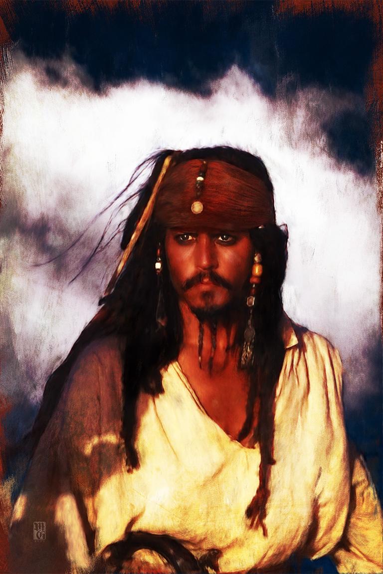 Portrait of Johnny Depp as Captain Jack Sparrow