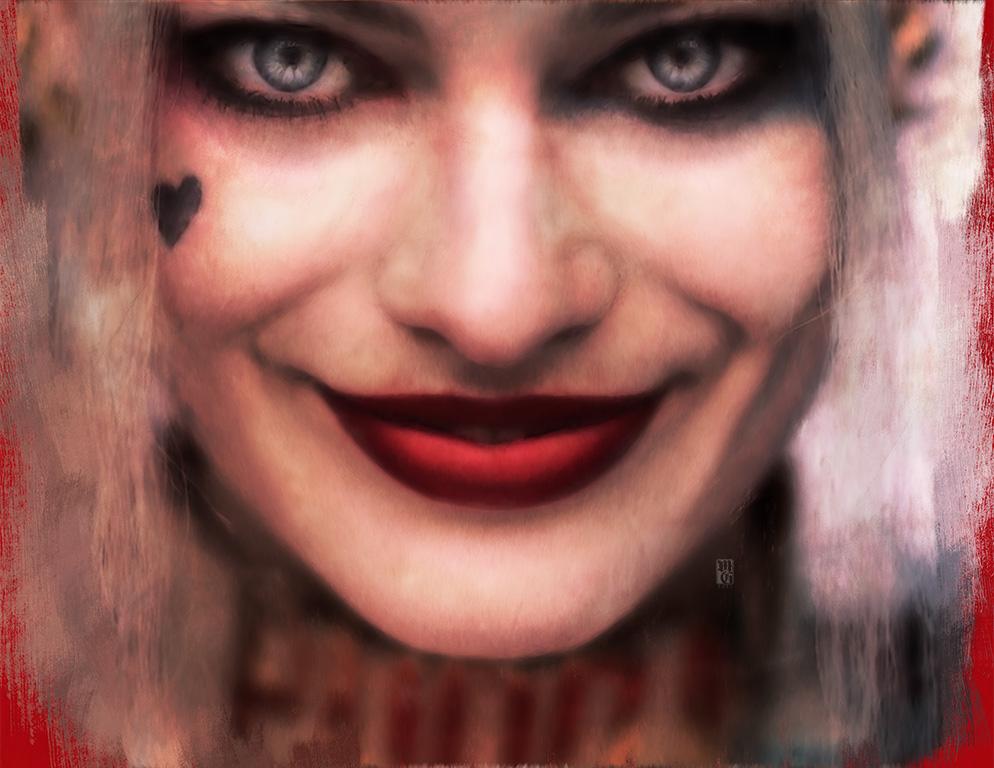 Portrait of Margot Robbie as Harley Quinn