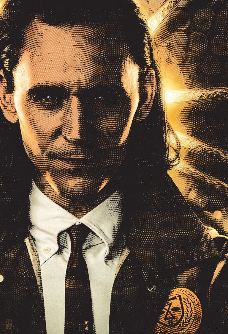 Engraving effect test portrait of Tom Hiddleston as Loki