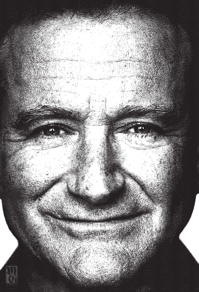 Engraving test portrait of Robin Williams