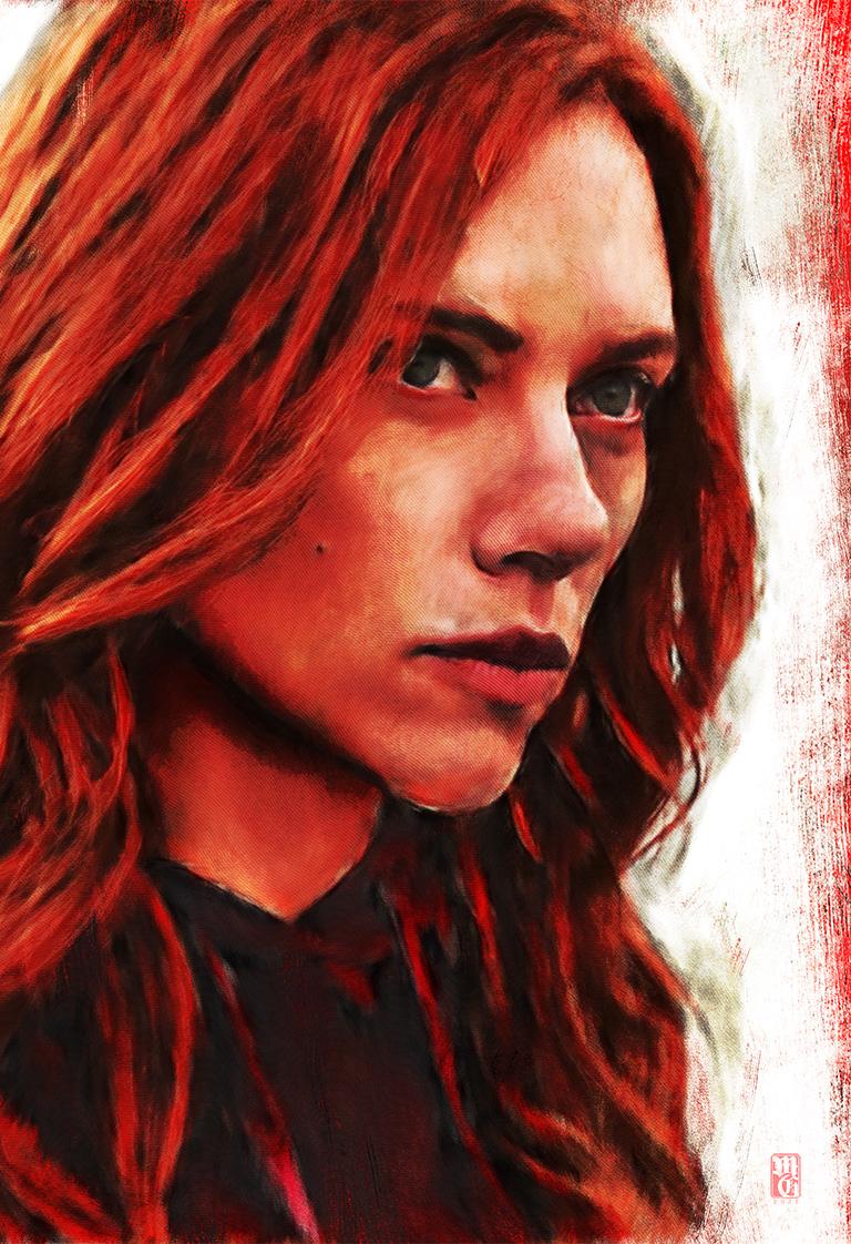 Portrait of Scarlett Johansson as Black Widow