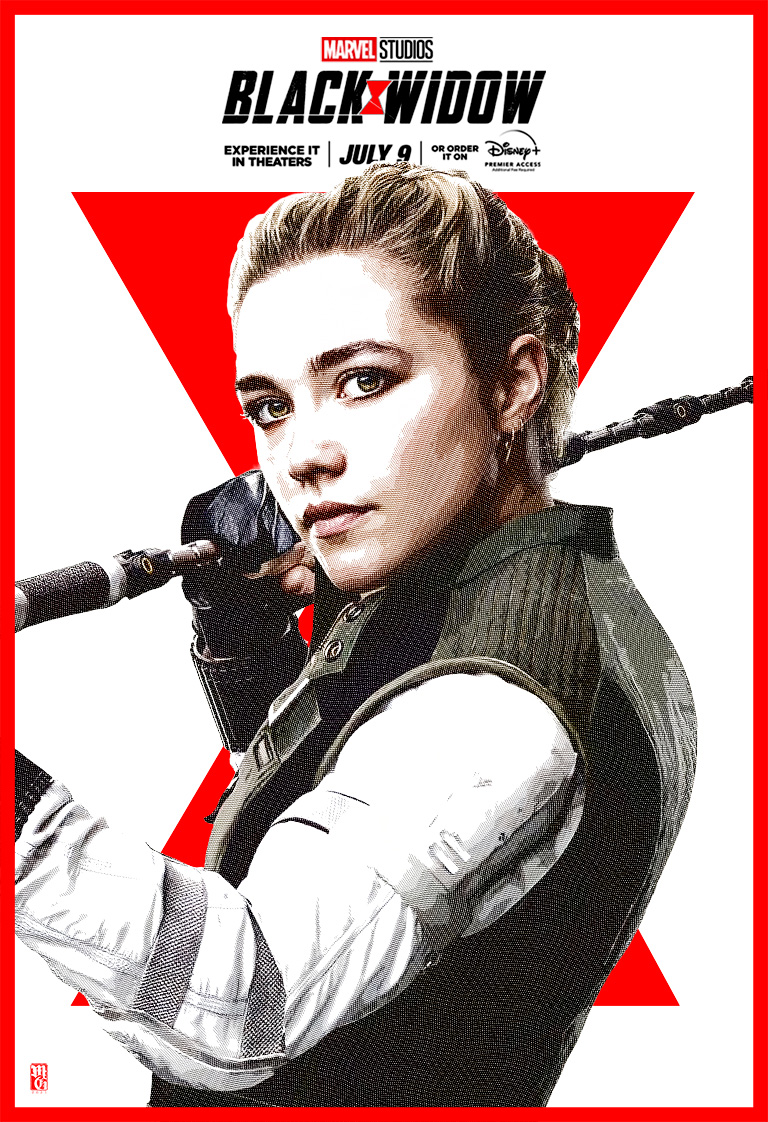Portrait of Florence Pugh as Yelena alternative movie poster for Black Widow