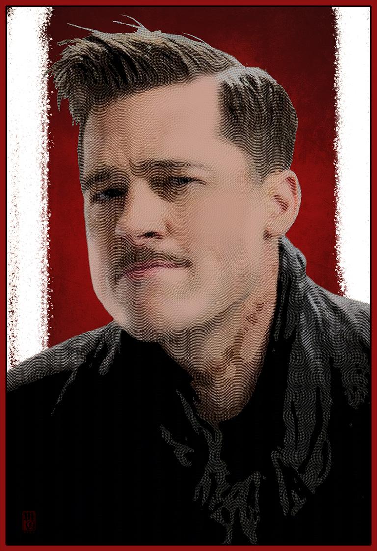 Portrait of Brad Pitt from Inglorious Bastards