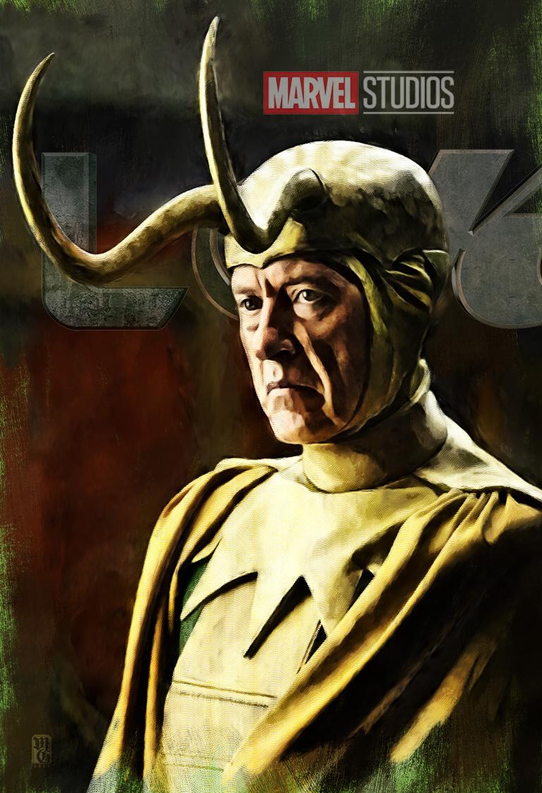 Portrait of Richard E. Grant as a Loki variant