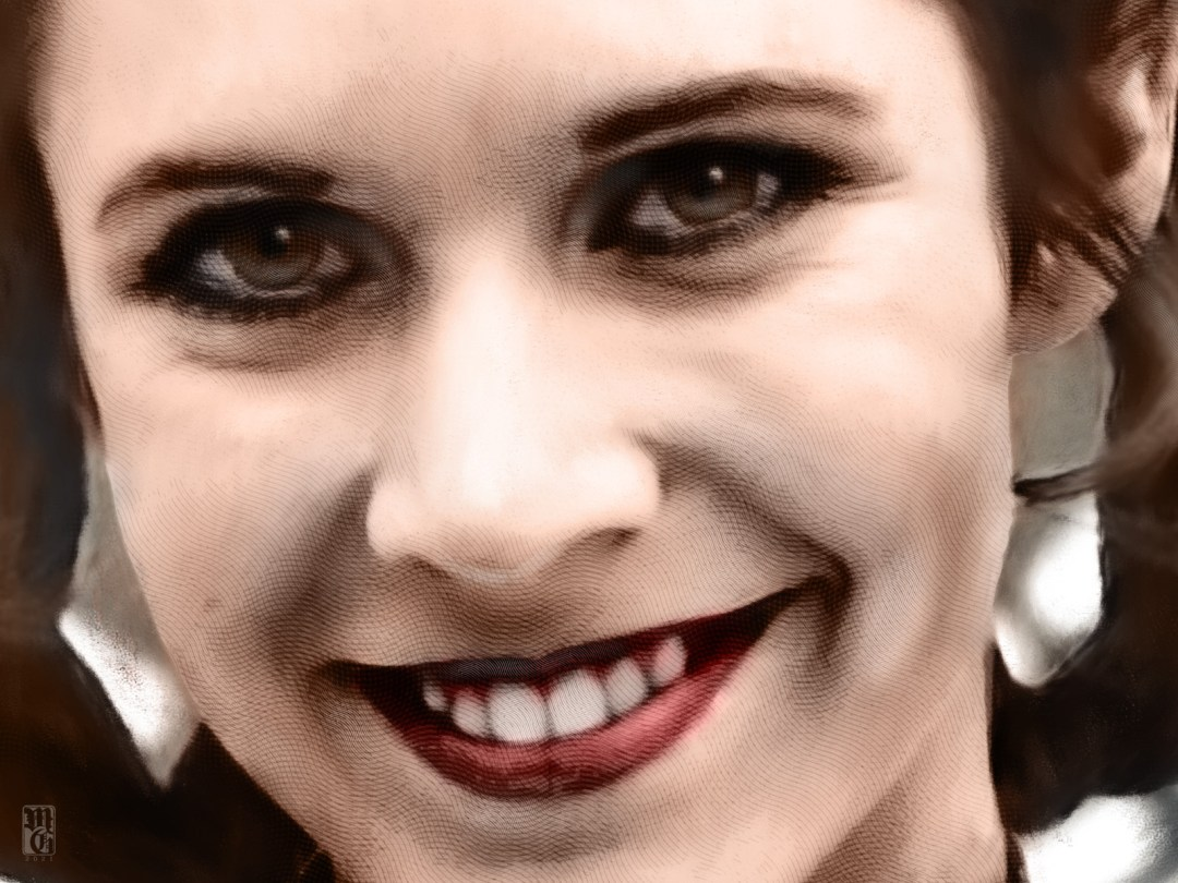 Detail of portrait of Carrie Fisher as Princess Leai