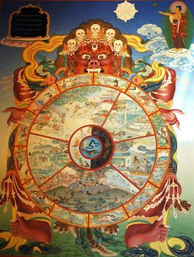 Traditional_bhavachakra_wall_mural_of_Yama_holding_the_wheel_of_life,_Buddha_pointing_the_way_out.jpg