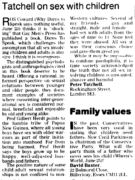 Tatchell Guardian Letter 1997-06-26