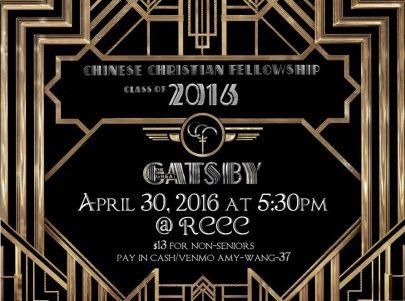 Gatsby Themed Dinner Event Announcement