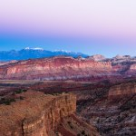 the evening light illuminates the beautiful cliffs in capitol reef national park
