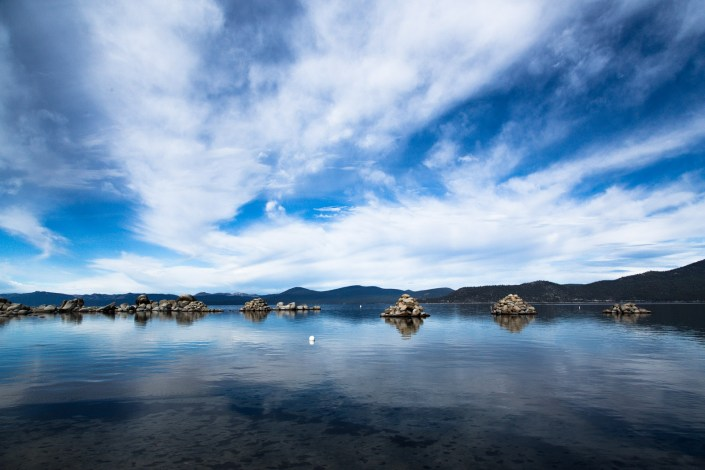 Lake Tahoe Rock Structures from old wood mills stand out of the water thanks to the drought