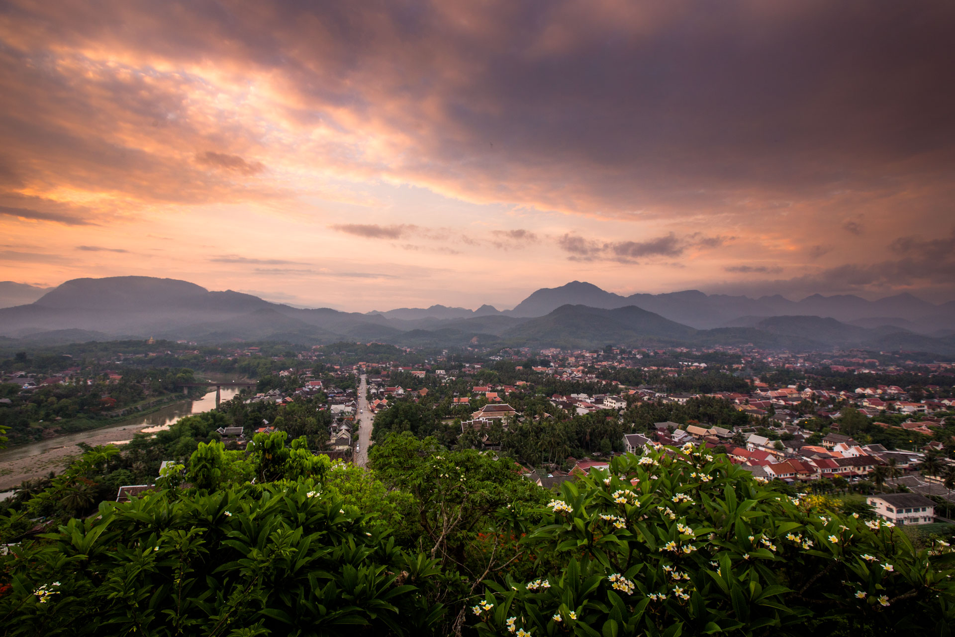 Sunrise looking out over Luang Prabang
