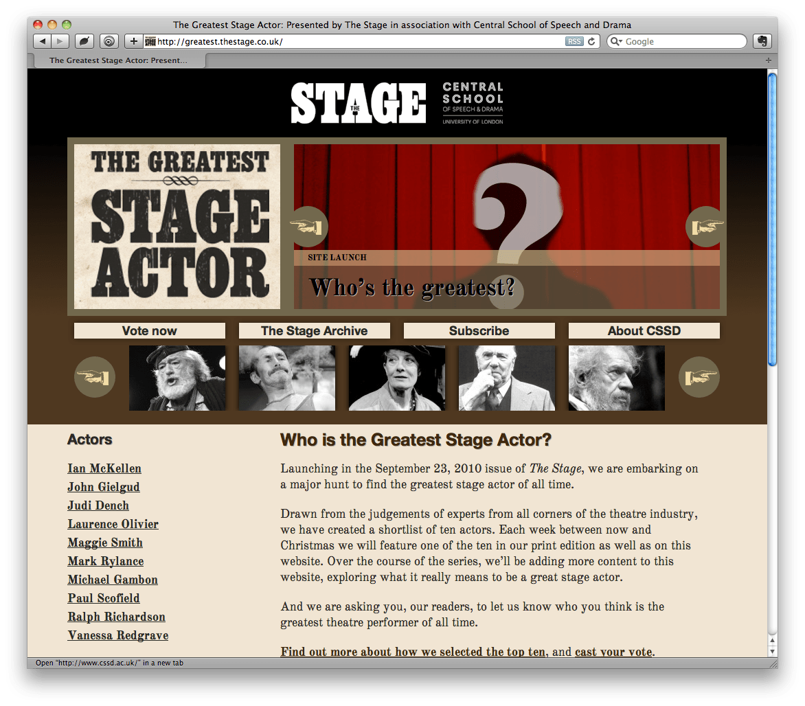 How I built the Greatest Stage Actor website