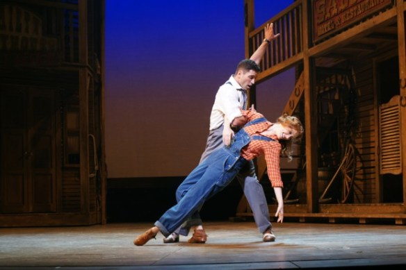 Sean Palmer (Billy) and Clare Foster (Polly) in Crazy for You. Photo by Roy Tan.