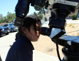 Orlando views the Mercury Transit of the Sun on May 9, 2016 at the Victorville, California Library