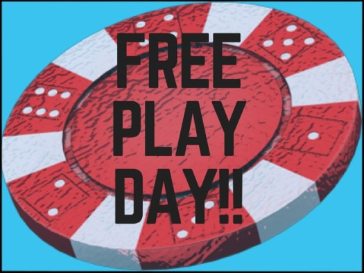 Word Art Free Play Day over casino chip and sky blue background