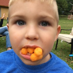 I tried to get Jordy to see how many more Cheese Curls he could get into his gob. He didn't want to. Next time...
