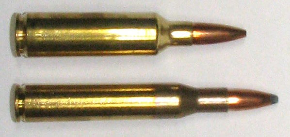 .270 Winchester (bottom), next to its magnum counterpart .270 WSM