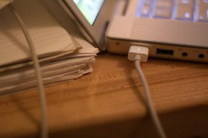MacBook Pro with charger
