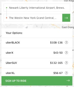 Uber fare estimate between Newark Liberty International Airport and The Westin New York Grand Central
