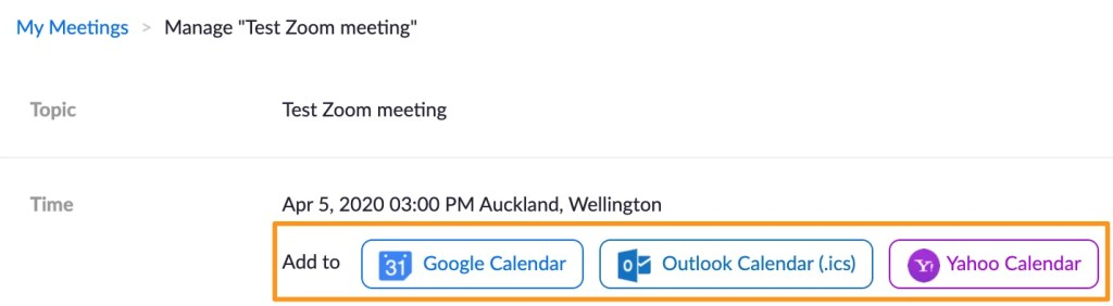 Screenshot of Zoom manage meeting - Calendar sharing buttons