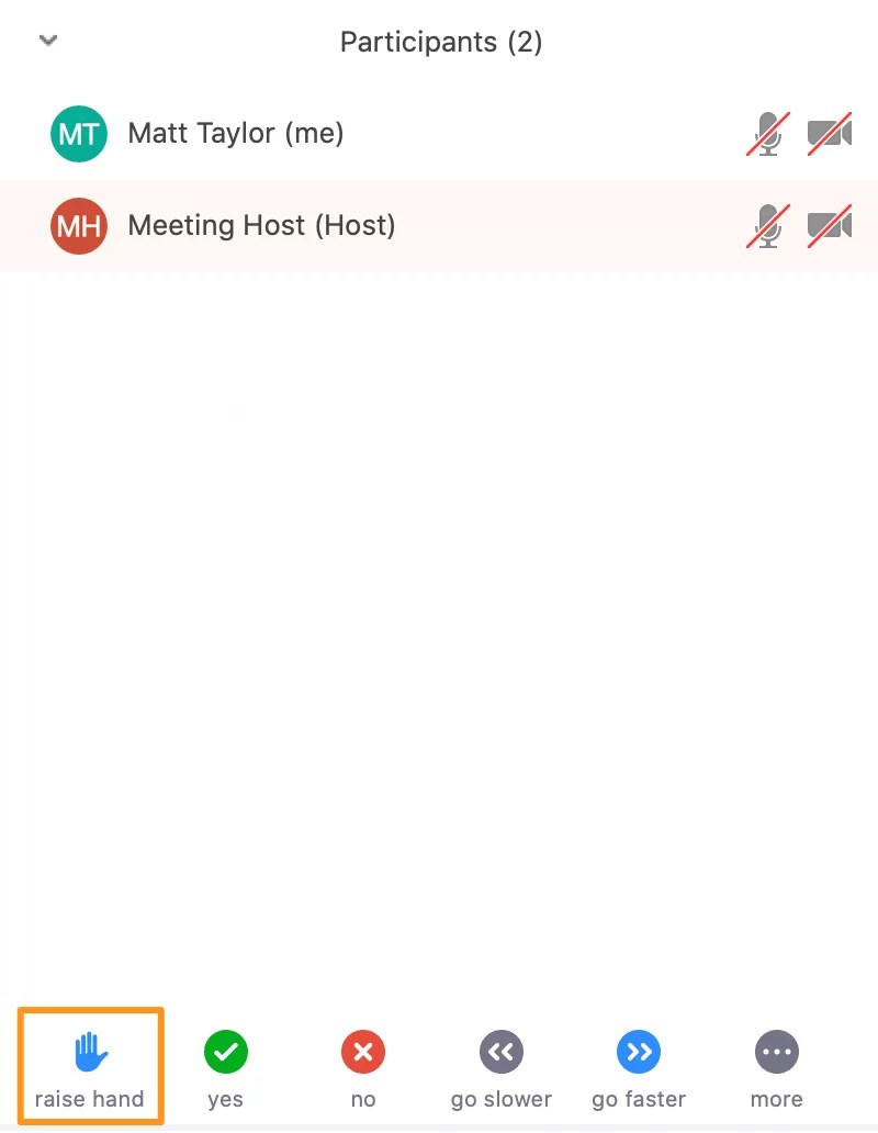 Screenshot of a Zoom meeting - Participants window - Raise hand button