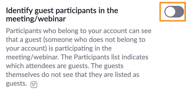 Screenshot of Zoom meeting settings - Identify guest participants in the meeting/webinar.