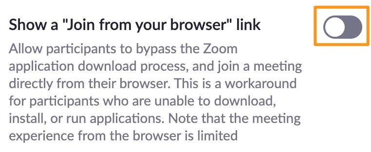 Screenshot of Zoom meeting settings - Show a 'Join from your browser' link