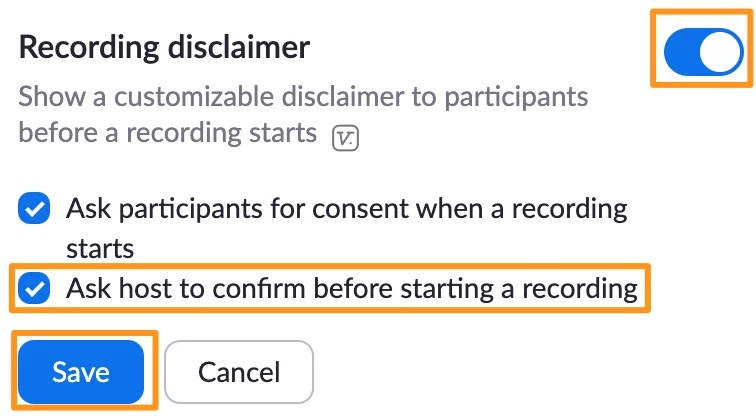 Screenshot of Zoom recording settings - Recording disclaimer.