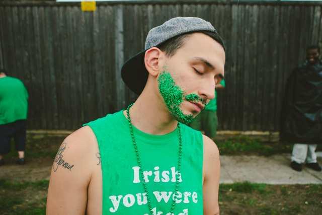 An awesome green glitter beard