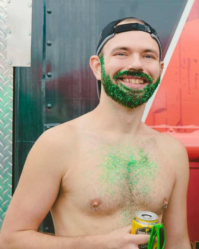 Green glitter beard and pierced nipples!
