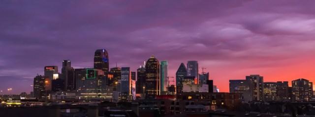Dallas skyline panorama during dramatic sunset