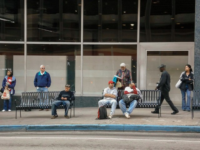 People waiting for the bus in Dallas