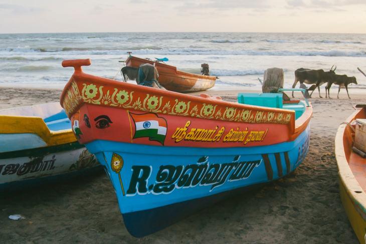 Fishing boats on Nagapattinam Beach