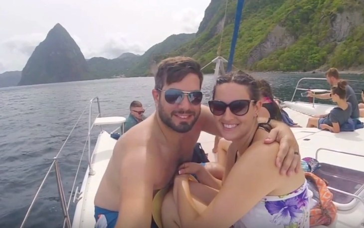 Andrea and I on the boat in St. Lucia